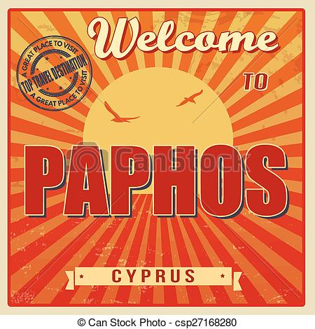Vector of Welcome to Paphos retro poster.