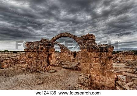 Stock Images of Ruins of an ancient byzantine castle in Paphos.