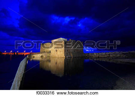 Stock Images of Cyprus, Paphos, the Paphos castle at night.