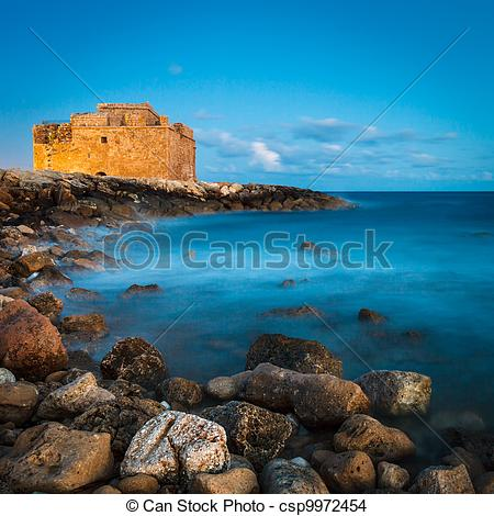 Stock Photo of Night view of the Paphos Castle (Paphos, Cyprus.