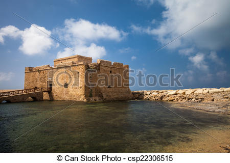 Clipart of Late afternoon view of the Paphos Castle (Paphos.