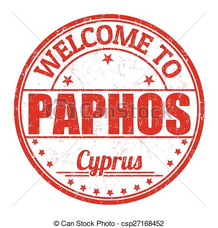 Clipart Vector of Welcome to Paphos stamp.