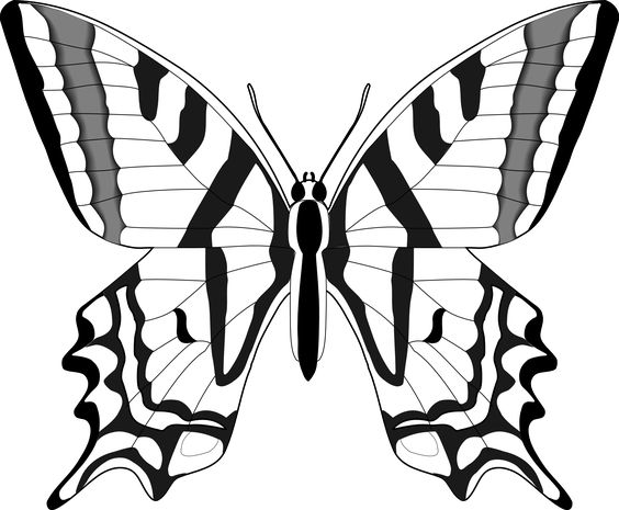 Simple Black And White Butterfly Clipart #1.