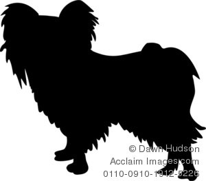 Silhouette of a Papillon Dog Clipart Illustration.