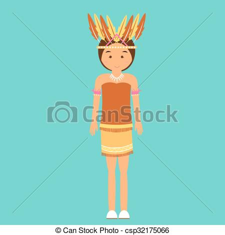 Clip Art Vector of indonesian traditional clothes woman dress.