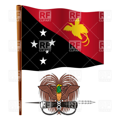 Papua New Guinea flag and national emblem Vector Image #16749.