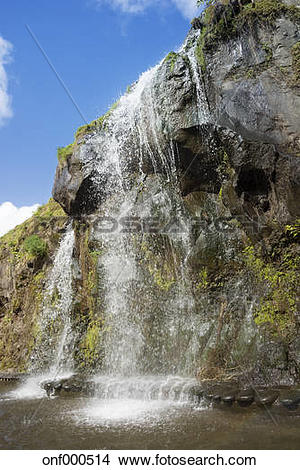 Stock Photo of Portugal, Azores, Sao Miguel, Waterfall at Parque.