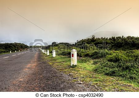 Stock Photography of Road in Plateau of Parque natural de Madeira.
