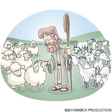 clipart of the parable of the sheep and goats.