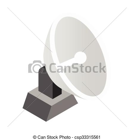 Clip Art Vector of Parabolic aereal 3d isometric icon isolated on.
