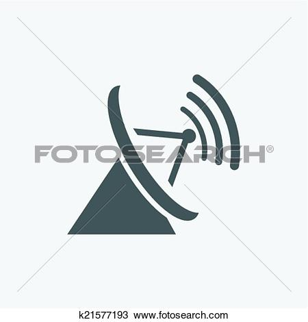 Clipart of Parabolic antenna Icon Isolated on White Background.