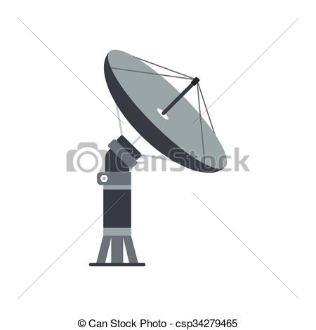 Clip Art Vector of Parabolic aereal flat icon isolated on white.