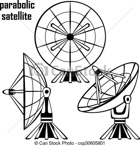 Vector Clipart of parabolic sattelit.