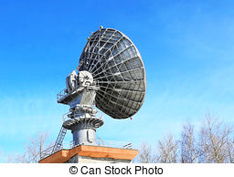 Stock Photography of Parabolic reflector antenna for communication.