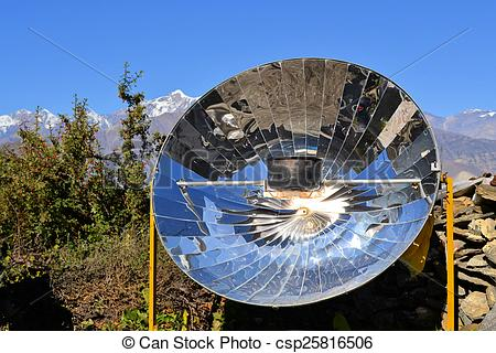Stock Photography of tea kettle boiling by solar parabolic.