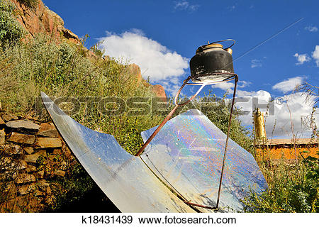 Stock Photograph of tea kettle boiling by solar parabolic.