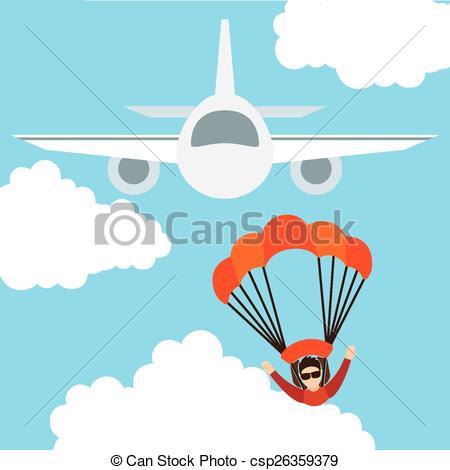 Vectors Illustration of parachute fly design, vector illustration.