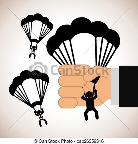 Vector Clip Art of parachute fly design, vector illustration eps10.