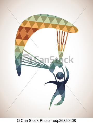 Vector Clipart of parachute fly design, vector illustration eps10.