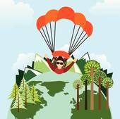 Clip Art of parachute fly k26359347.