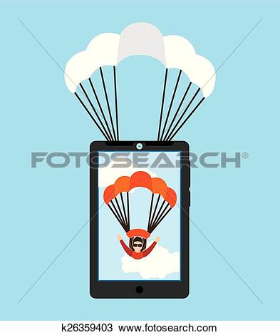 Clipart of parachute fly k26359403.