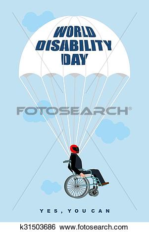 Clip Art of World Disabilities day. Man in wheelchair goes down on.