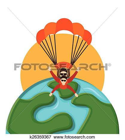Clip Art of parachute fly k26359367.