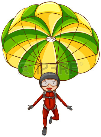 Illustration Of A Person Parachuting In The Sky Royalty Free.