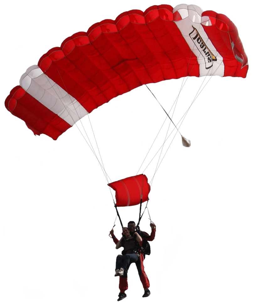Red and White Parachute transparent PNG.