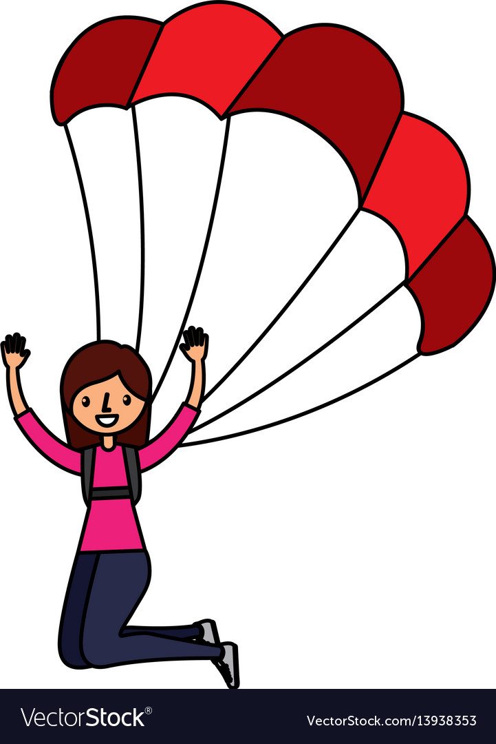 Young woman with parachute.