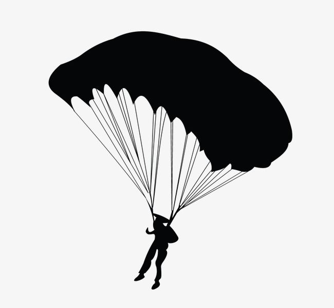 Parachute, Parachute Silhouette, Skydiving Silhouette PNG.