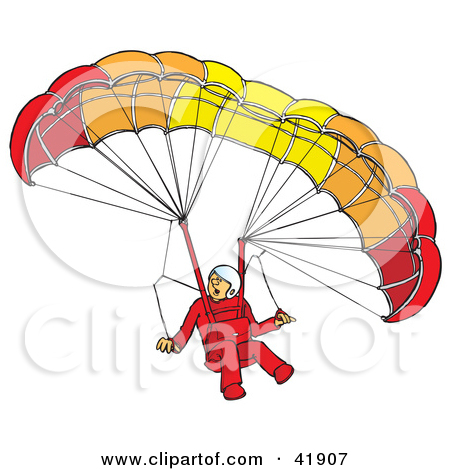 Clipart Illustration of an Amazed Paraglider Descending And.