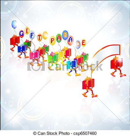 Vector Clipart of gift parade with balloons and transparency over.