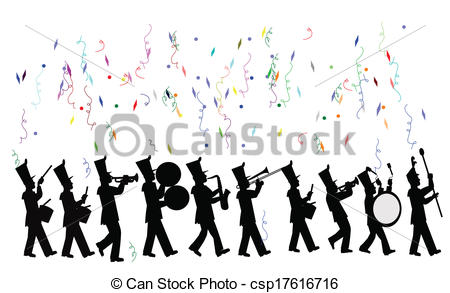 Vector Clip Art of marching band in celebration parade csp17616716.