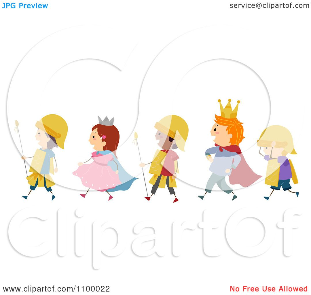 Clipart Line Of Diverse Royal Parade Children.