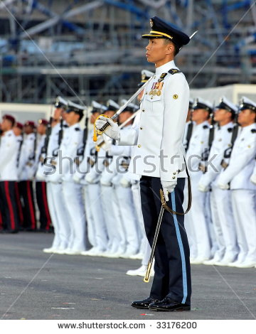 Singapore June 25 Navy Guestofhonor Contingent Stock Photo.