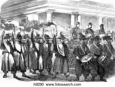 Stock Photography of 1800S 1860S December 1861 Torchlight Parade.