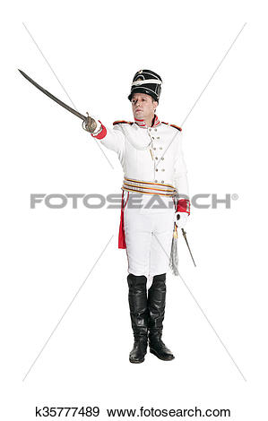 Stock Photograph of Horse Guards officer marching on the parade.