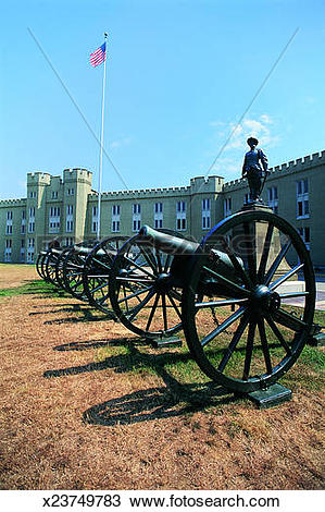 Stock Photo of Parade Ground With Cannon, Virginia Military.