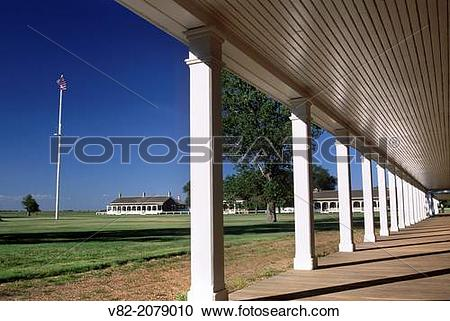 Stock Photography of Flagpole in Parade Ground, Fort Larned.