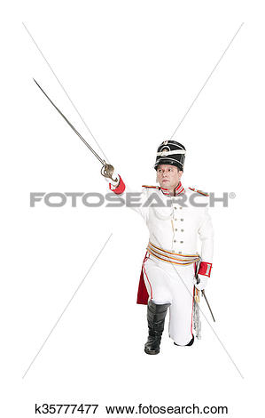 Picture of Horse Guards officer marching on the parade ground.