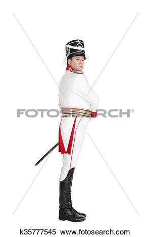 Stock Image of Horse Guards officer marching on the parade ground.