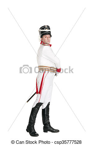 Stock Photo of Horse Guards officer marching on the parade ground.