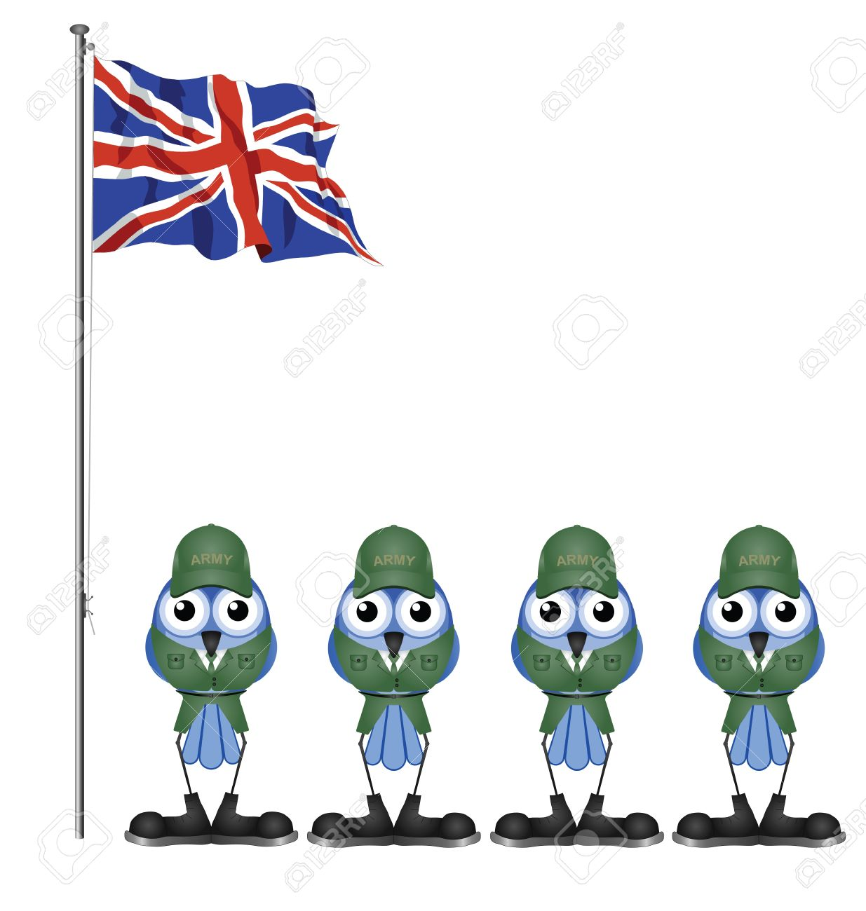 UK Soldiers On Parade Ground Isolated On White Background Royalty.