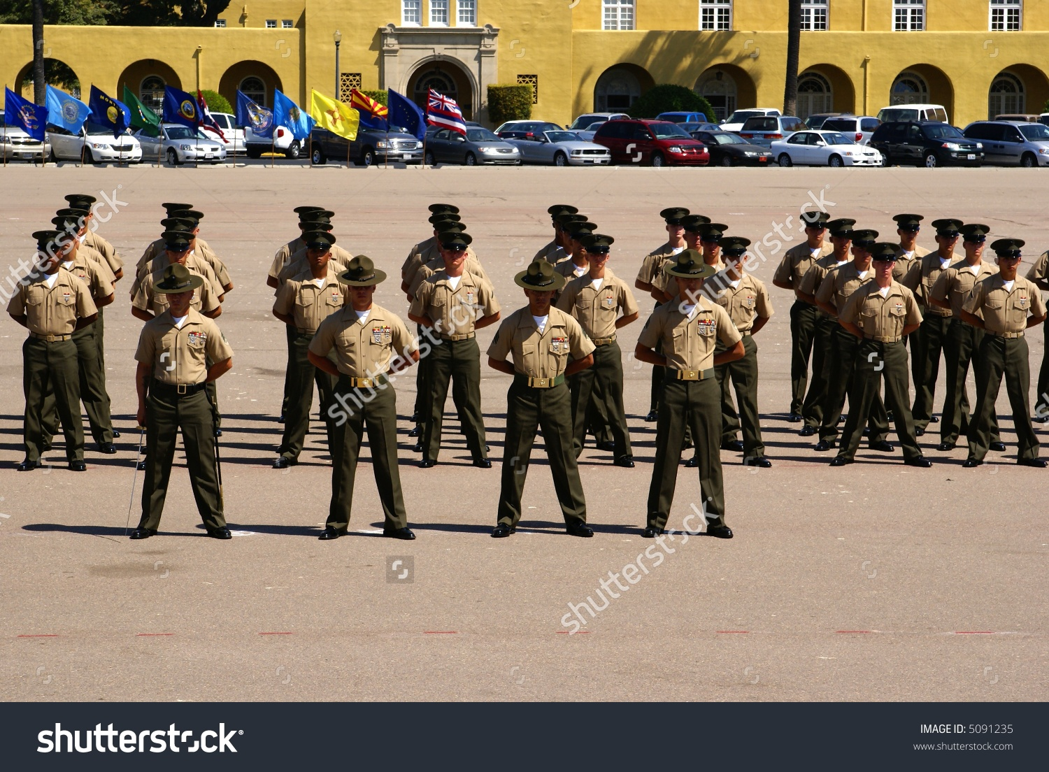 New Marines Standing Parade Rest Drill Stock Photo 5091235.