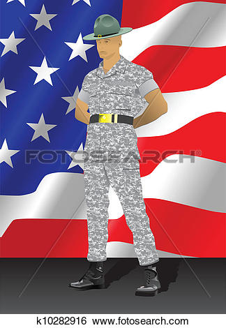 Stock Images of Military drill instructor standing in parade rest.