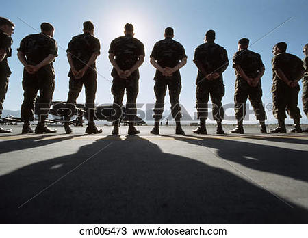 Stock Photo of Line Of American Soldiers Standing At Parade Rest.