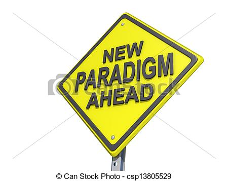 Clip Art of New Paradigm Ahead Yield Sign White Background.
