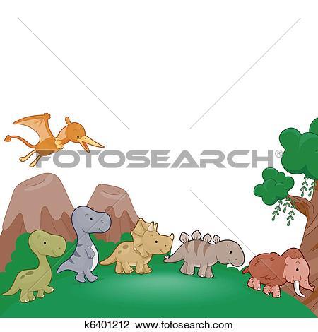 Clipart of Dinosaurs Parade k6401212.