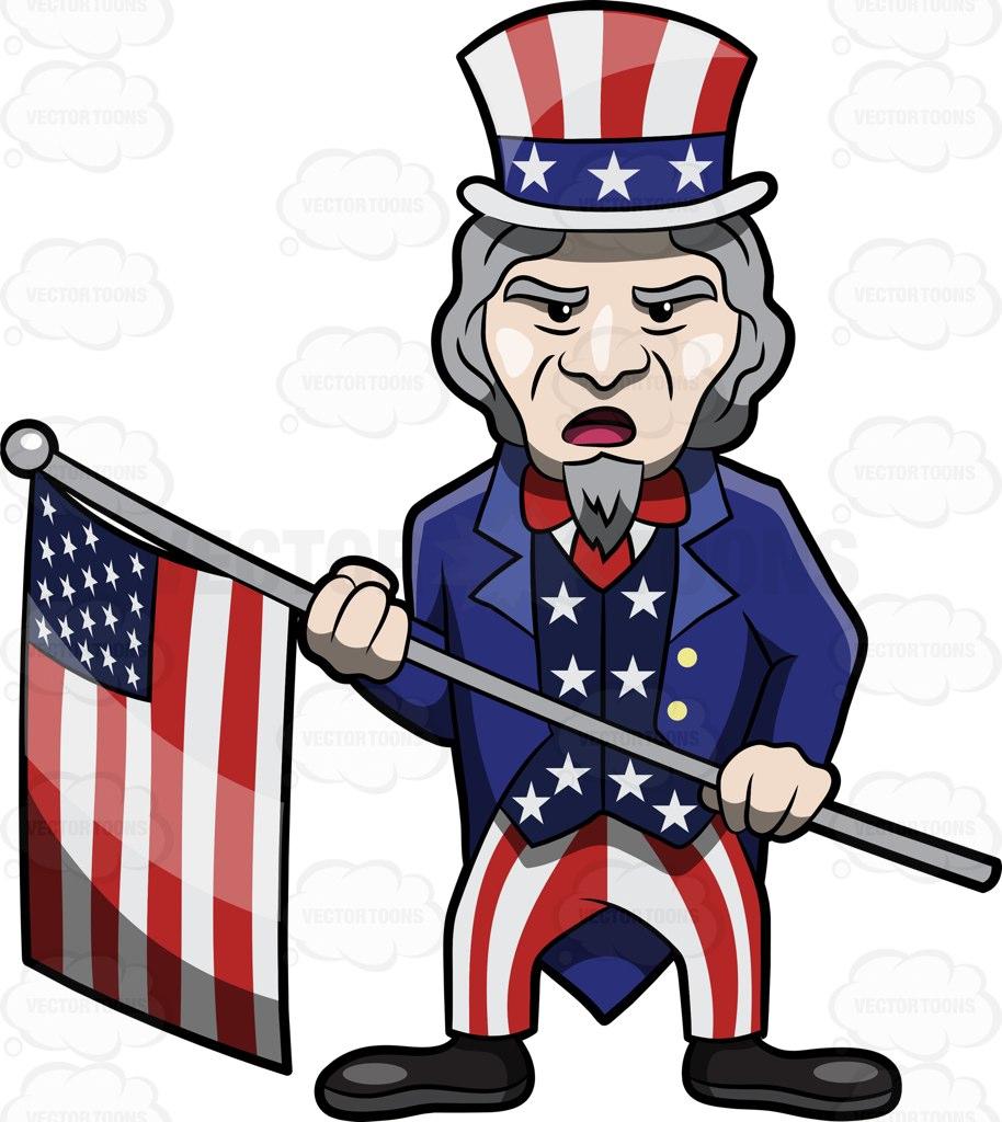 Uncle Sam Parading The Usa Flag Cartoon Clipart.